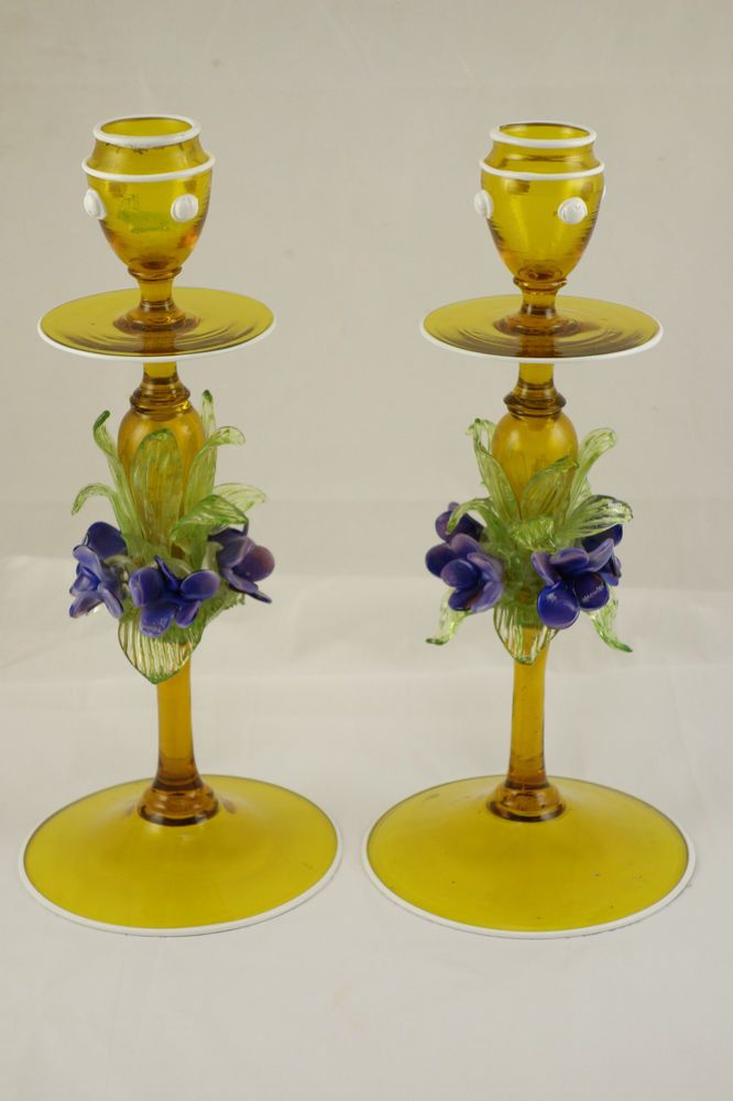 Rare Pair Murano Venetian Hand Blown Art Glass Candlestick Holders Flowers Gold