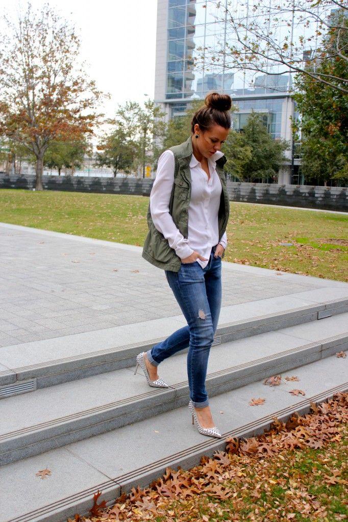 Courtney Kerr Utility vest, white shirt, skinny jeans and a bun