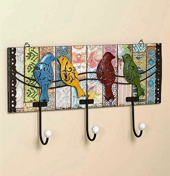 Superb Details About Vintage 3D Birds Metal Wall Hook Rack Distressed Antique Home  Decor Pictures