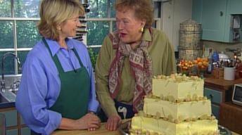 Martha & Julia: almond, apricot wedding cake with Italian buttercream frosting