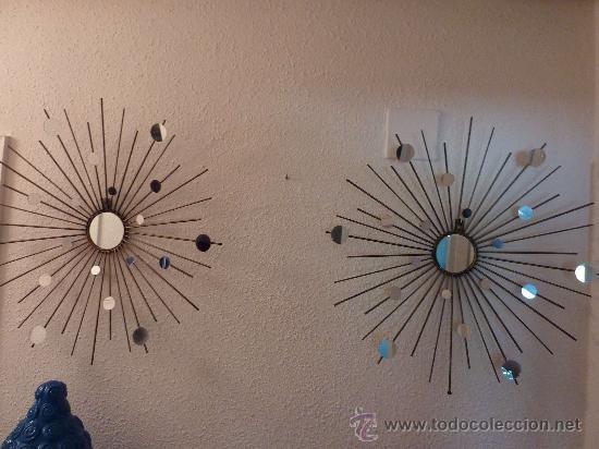 Pareja de espejos tipo sol, hierro acabado bronce, 140 €, envío gratis