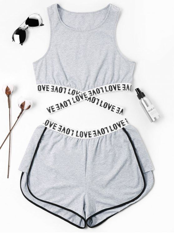Summer Criss-Cross and Patch Letter Flat Elastic High Sleeveless Round Regular Active Casual and Sports Letter Patched Crossover Shorts Set
