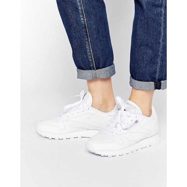 Reebok Classic Leather Trainers In White (5.260 RUB) ❤ liked on Polyvore featuring shoes, sneakers, white, high top sneakers, leather sneakers, canvas lace up sneakers, white high top shoes and white hi top sneakers