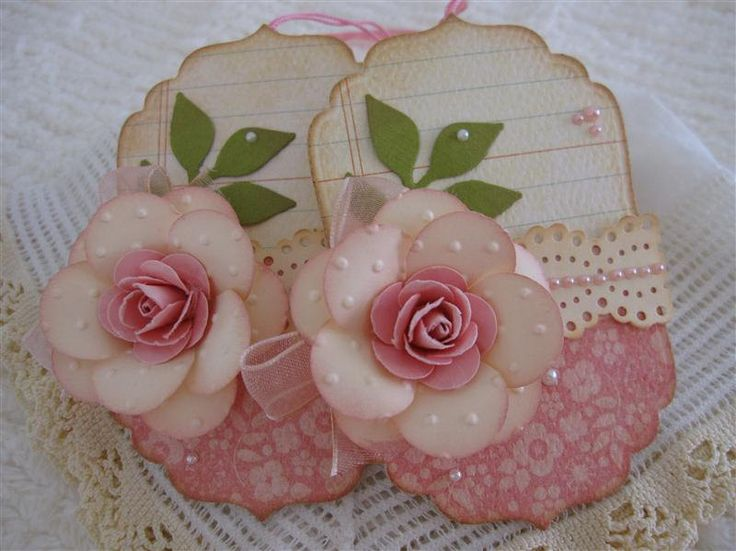 Shabby Vintage Pink Handmade Rose Flower Lace Tags set of 2