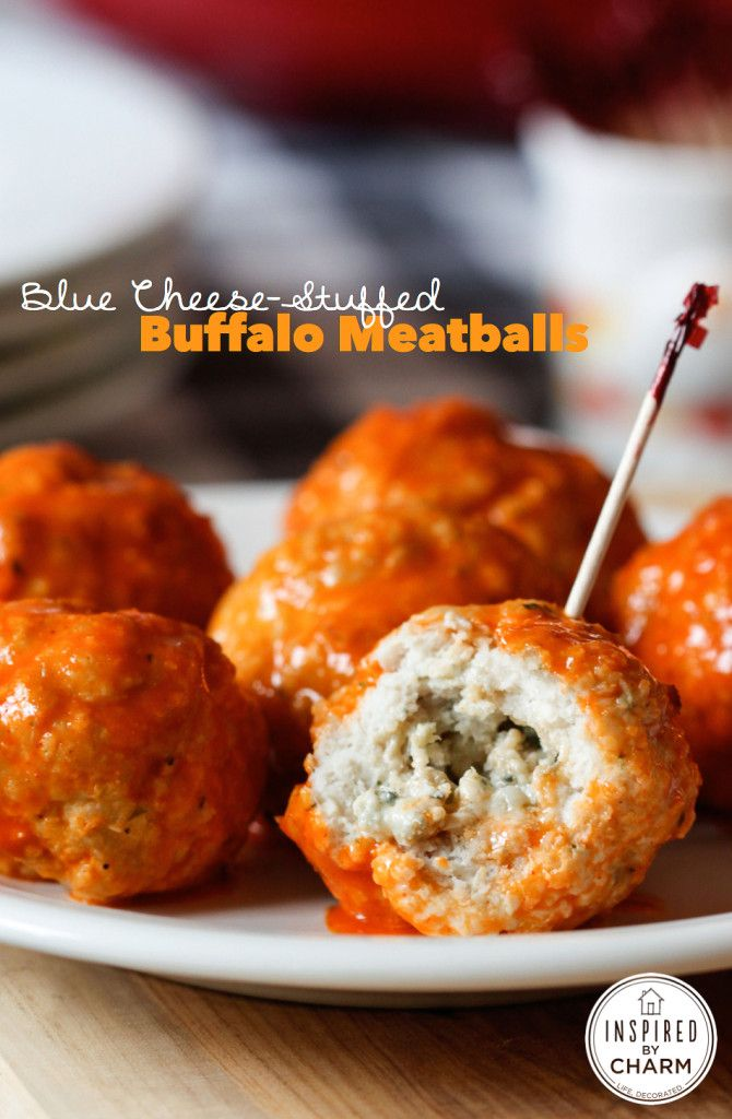 I'm in love!!!! Blue Cheese-Stuffed Buffalo Meatballs #tailgating #appetizer #wings