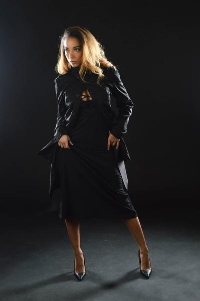 lace up dress, long vest + trench coat