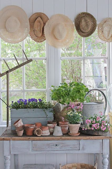 Potting area on an enclosed porch. Vibeke Design