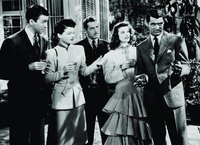 Still of Cary Grant, Katharine Hepburn, James Stewart, John Howard and Ruth Hussey in The Philadelphia Story