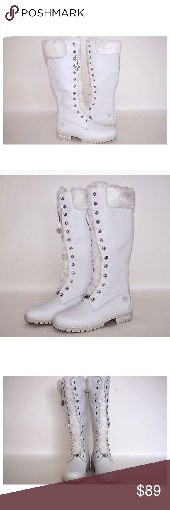 """Timberland 14"""" White Pebble Leather Winter Boots Good preowned condition  Make a statement with these white pebble leather knee high boots that are topped with flecks of iridescent sparkle in faux fur!  14"""" tall  Heel height 1 1/2"""" Size 8 ( run about 1/2 size Small) Timberland Shoes Winter & Rain Boots"""