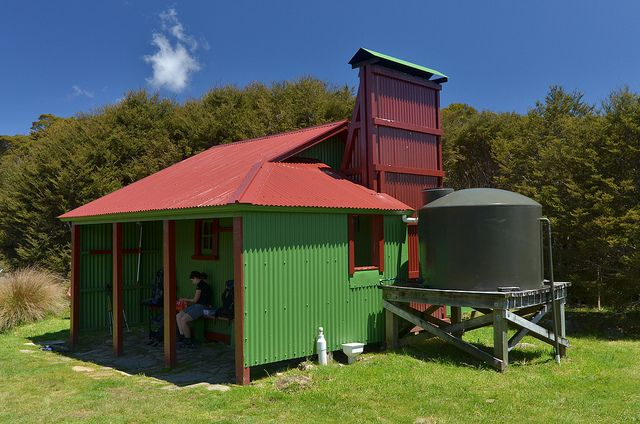 Gouland Downs Hut, Golden Bay (one of seven Great Walk huts on the Heaphy Track). Photo: Kathrin & Stefan Marks #dochuts