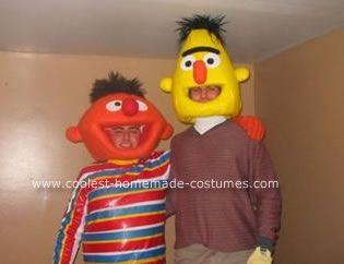 Homemade Bert and Ernie Halloween Costumes: The theme is Cartoon charaters/ Kids shows.  We couldn't resist these two classics, but didn't like any of the ones available online.  Time to get creative