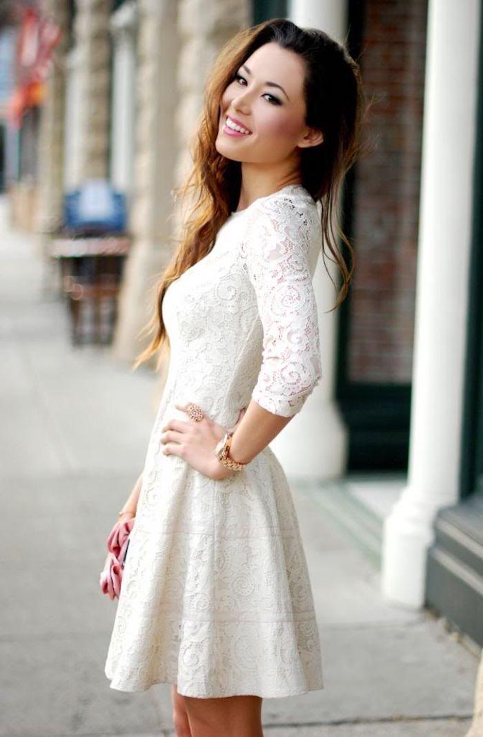 0e90f3ea2fe Tenue chic femme pour bapteme blanche robe de soirée courte en dentelle  tendance 2018