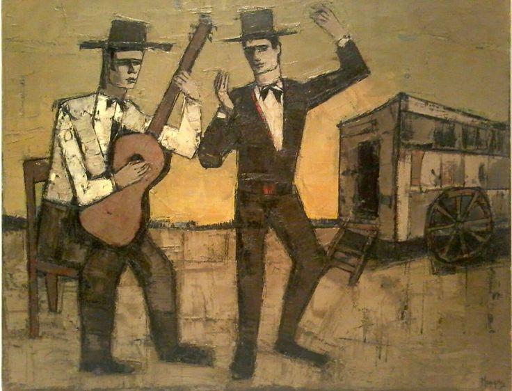 HJ (BER) MENGELS Listed DUTCH CUBIST Artist Sd Original FLAMENCO DANCER O/C N/R #Cubism