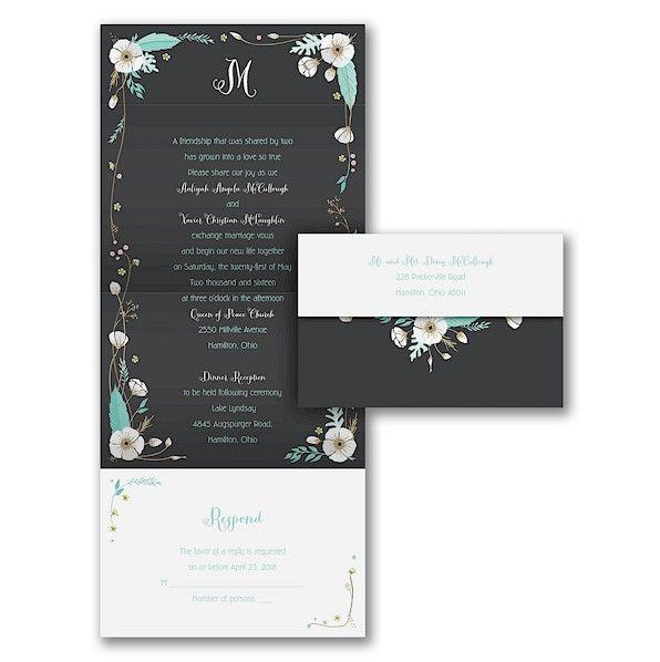 White Blossoms Seal U0027n Send Wedding Invitation