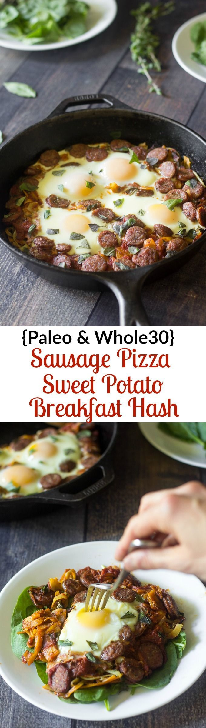 Paleo and whole30 sausage pizza breakfast hash with spiralized or shredded sweet potatoes and eggs baked right in. Seriously delicious and…