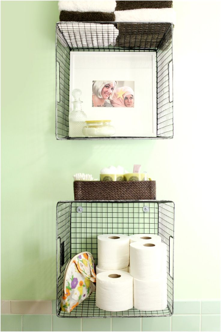 try this hanging baskets for bathroom storage a beautiful mess from Bathroom Hanging Storage