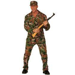 ¡Conviértete en un verdadero militar! Este disfraz de camuflaje masculino color kaki en dos piezas incluye unos pantalones, chaqueta y gorra.