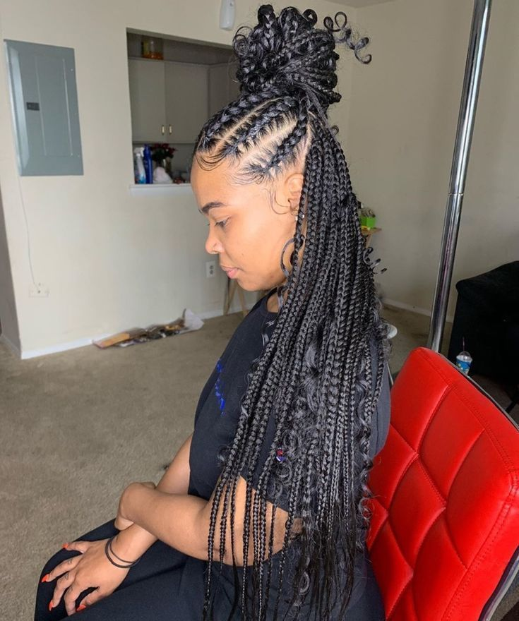 Braided Hairstyles Black Women Updos For Braided Hairstyles Braid Hairstyles Messy Braided In 2020 Feed In Braids Hairstyles Cornrow Hairstyles Box Braids Styling