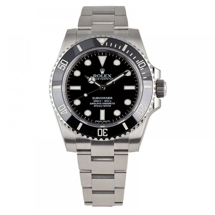 Rolex Submariner No Date Steel Watch Black Ceramic Bezel 114060
