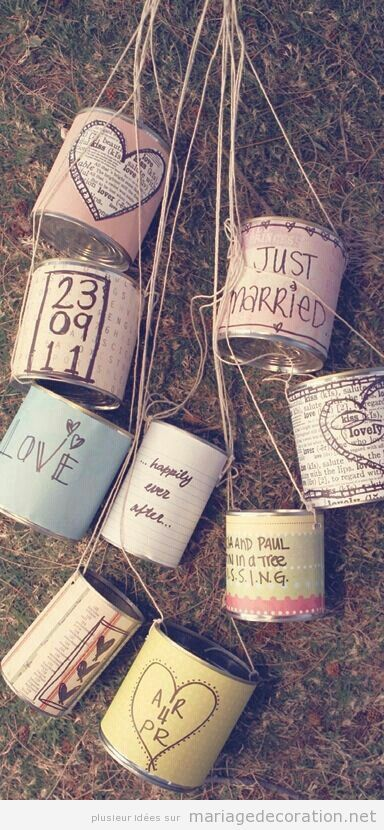 Boîtes de conserve vintage pour décorer la voiture des jeunes mariés | Décoration Mariage | Idées pour décorer un mariage pas cher