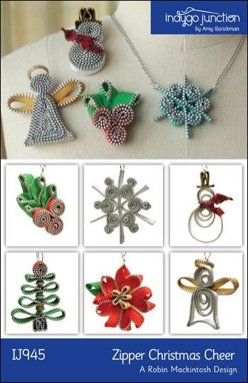 Zipper Christmas Cheer (IJ945) craft pattern for ornaments & jewelry created from zippers from IndygoJunction.com