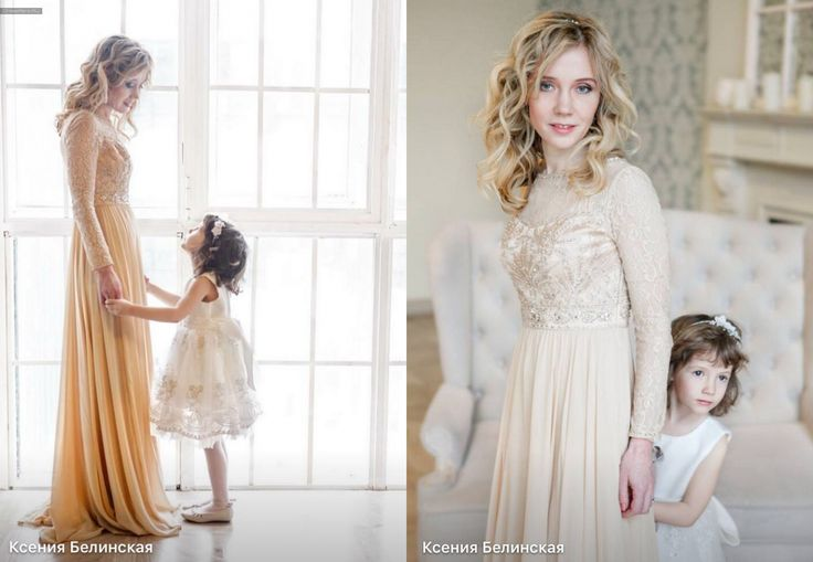 Очаровательная Ксения с дочерью в платье #SueWong Shampagne Long Sleeve Gown