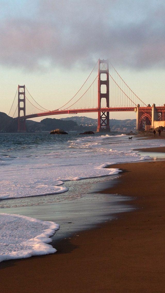 San Francisco Bridge Beach #iPhone #5s #Wallpaper | http://www.ilikewallpaper.net/iphone-5-wallpaper/, here to download more free iPhone wallpapers.