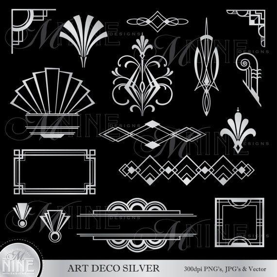 Clipart argent ART déco : Art déco Accents Design éléments Clipart, téléchargement de style Art déco, Vintage Art déco bordures de cadre
