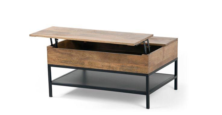 Lomond, table basse modulable avec coffre de rangement, bois de manguier et acier noir