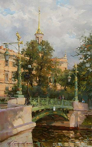 Paintings Azat Galimov.Garden Bridge on the River Moyka