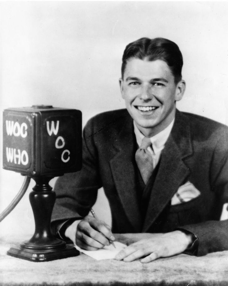 Reagan began his storied career in broadcasting as an Iowa radio sportscaster where be once announced Chicago Cubs games for WOC/Davenport, Iowa and WHO/Des Moines, Iowa. Description from yimber-gaviria.blogspot.com. I searched for this on bing.com/images
