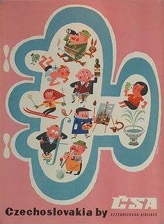 Vintage Travel Poster - Czechoslovakia  - (CSA Czechoslovak Airlines).