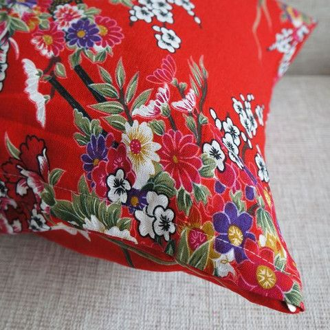 Handmade Vintage Style Floral Red Cushion Cover – Stuff I Want