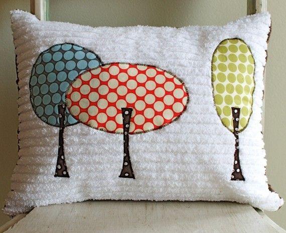 The Retro Trees Throw Pillow on Etsy, $42.00