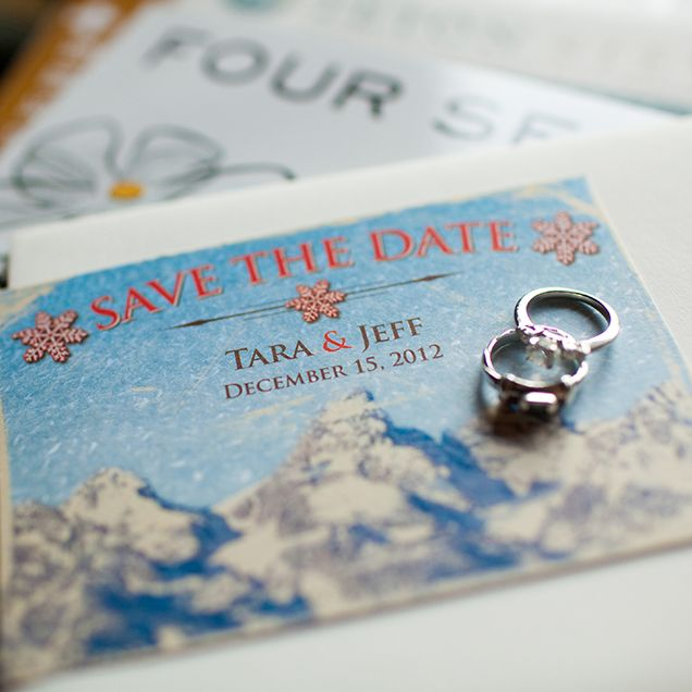 The save-the-dates at this winter @Mandy Dewey Seasons Resort Jackson Hole wedding mimicked vintage ski posters.