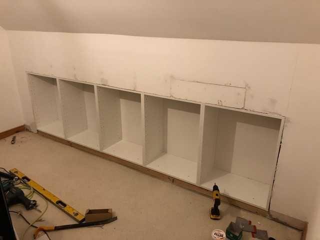Ikea Hack Built In Storage In Knee Wall Wall Storage Diy Ikea Wall Storage Wall Storage