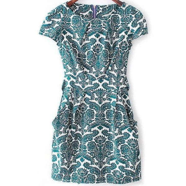 SheIn(sheinside) Green Short Sleeve Rockabilly Peasant Floral Bow Camo... ($19) ❤ liked on Polyvore featuring dresses, vestidos, green, green summer dress, floral summer dresses, summer dresses, green dress and blue floral dress