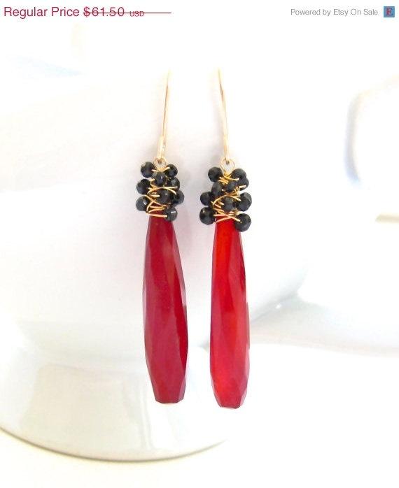 SALE 15% OFF Long Carnelian Dangle Earrings by JewelryBySonjaBlume, $52.28