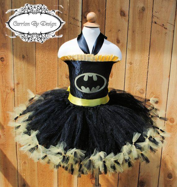 Batman Inspired Tutu Dress Costume  Newborn to Size 9 by CarrionByDesign, $45.00