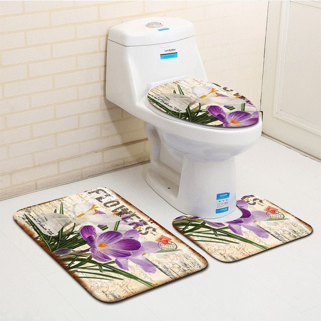 The 3 Sets Bathroom Carpet Mat And Toilet Seat Cover Plant And