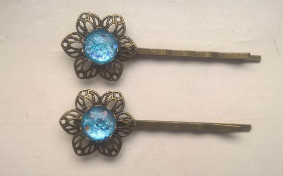 Vintage Hair Pin blue hair pins vintage hair pins by Glitterperlen