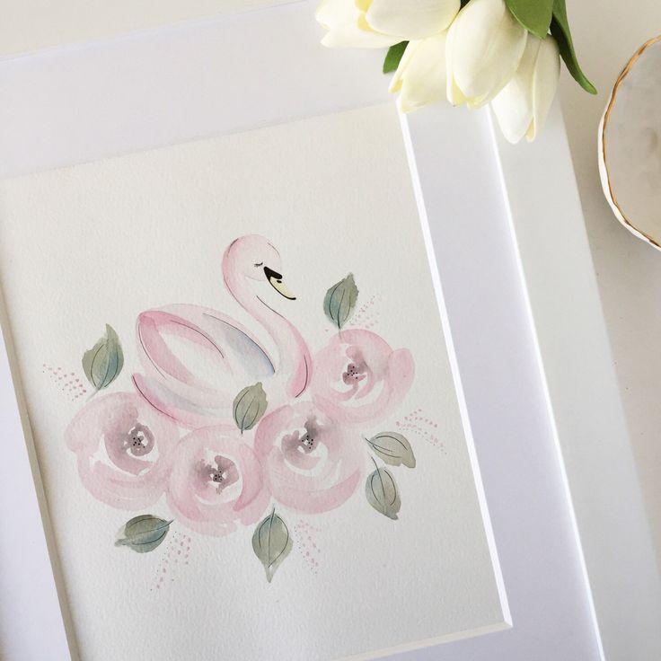 Swan Nursery Art, Swan Art, Pink Swan Painting, Swan Nursery Decor, Swan and Roses Nursey, Pink Swan Nursery by ThePrintsAndThePea on Etsy https://www.etsy.com/listing/494074478/swan-nursery-art-swan-art-pink-swan