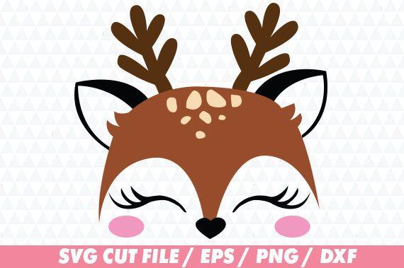 Deer Svg Cute Face Svg Cute Deer Svg Deer Cricut Cute Reindeer Face Diy Xmas Gifts Christmas Svg