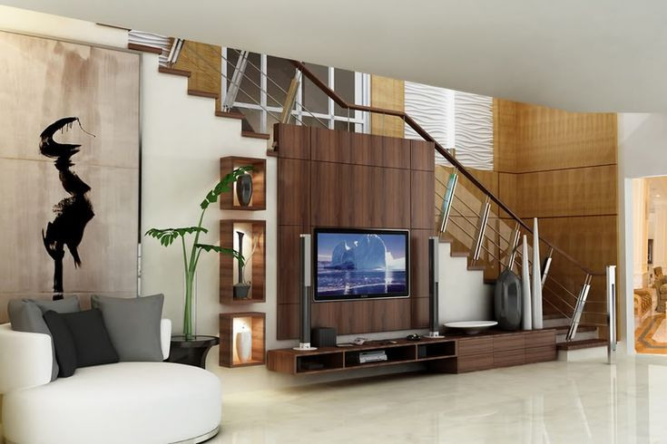 Tv on stair interior design yahoo search for Tv showcase designs under staircase