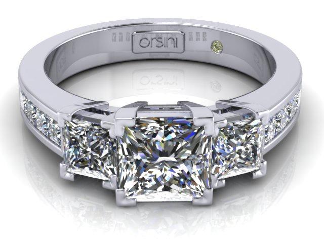 Platinum  Stone Princess Cut Diamond Ring