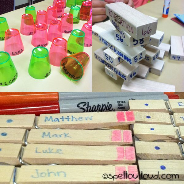 "Games to memorize the books of the Bible.  I like the cup stacking game!  Also redirects to other sites, which includes a version of the OT books sung to ""Ten Little Indians."""