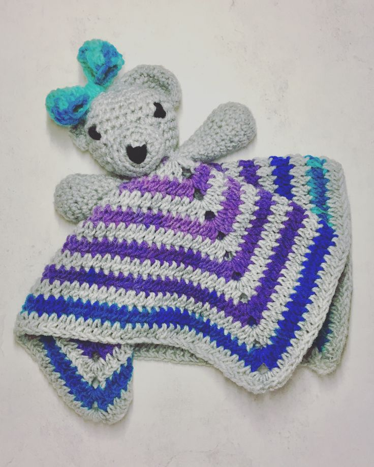 Crochet security blanket - bear or mouse