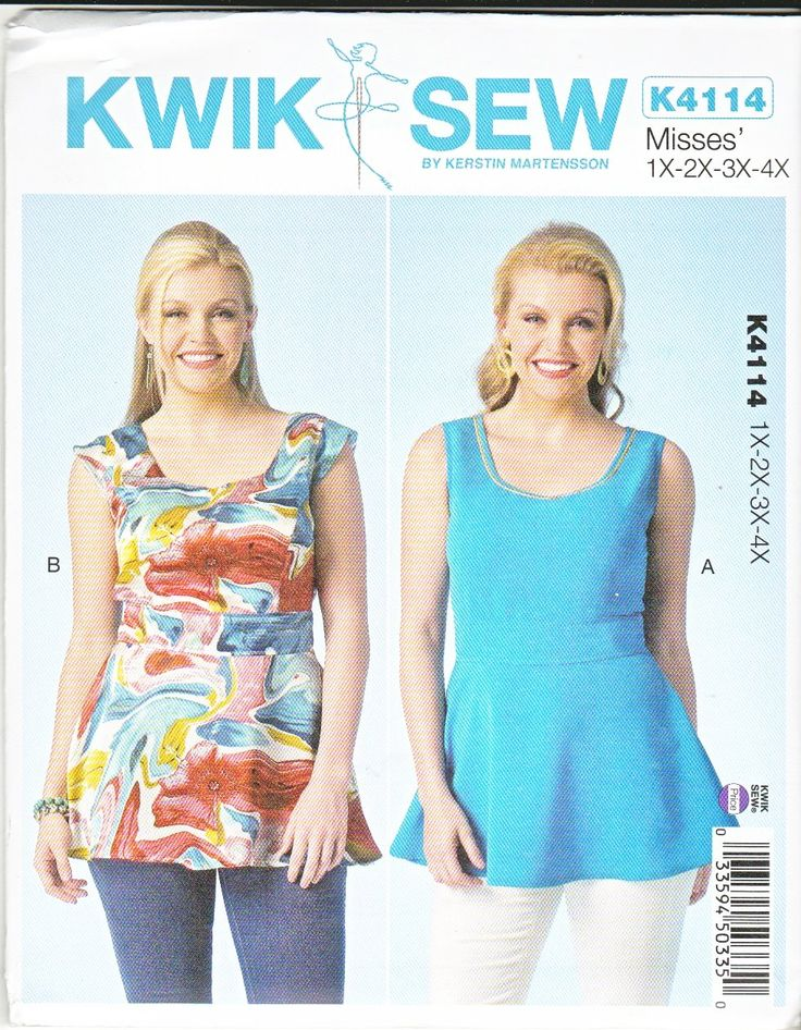 Kwik Sew Sewing Pattern 4114 Women's Plus Size 1X-4X (22W-32W) Sleeveless Peplum Tops  --  Currently Available for sale from www.MoonwishesSewingandCrafts.com
