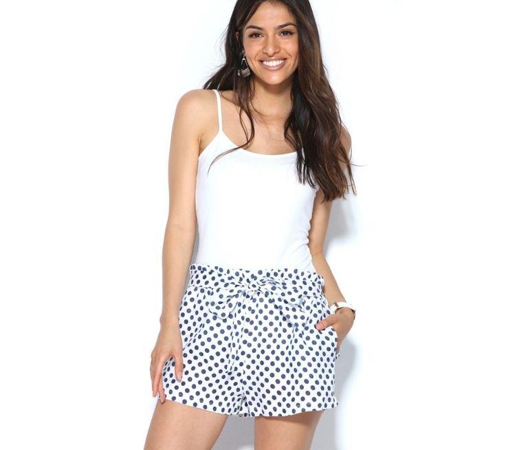 Šortky s bodkami, s opaskom na zaviazanie | modino.sk #modino_sk #modino_style #style #fashion #sortky #kratasy
