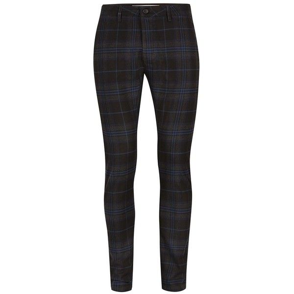 TOPMAN Black and Navy Check Stretch Skinny Chinos (€41) ❤ liked on Polyvore featuring men's fashion, men's clothing, men's pants, men's casual pants, black, mens polyester pants, mens navy blue dress pants, mens stretch pants, mens checkered pants and mens skinny chino pants